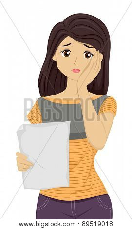 Illustration of a Girl Unhappy with the Results on her Paper