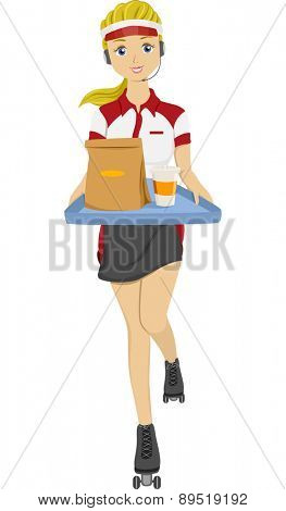 Illustration of a Teen Girl on Skates holding Tray with Food for Take Out