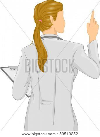 Rear View Illustration of a Girl Doctor holding Clipboard and pointing up