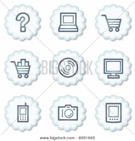 Electronics Web Icons Set 1, White Buttons