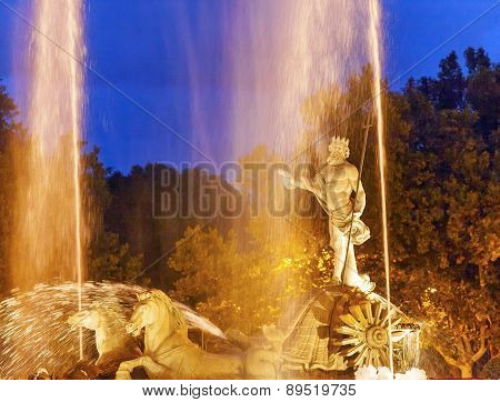 Neptune Chariot Horses Statue Fountain Night Madrid Spain