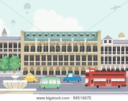 Illustration of a Typical Urban Scene with Vehicles Passing By