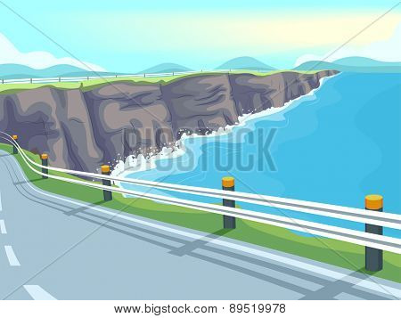 Illustration of a Long Stretch of Winding Road by the Sea