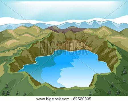 Illustration of a Crater Lake Inside a Volcano