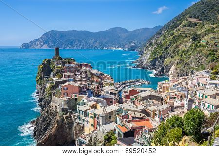 Panorama View Of Vernazza Fisherman Village In Cinque Terre, Italy