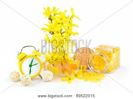 Composition From Spring Yellow Flowers, Aroma Salt And Alarm Clock