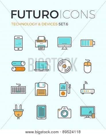 Technology Devices Futuro Line Icons