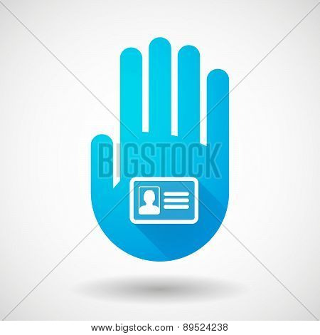 Blue Hand Icon With An Id Card