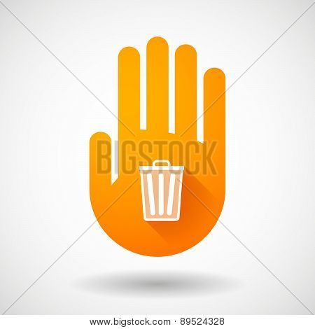 Orange Hand Icon With A Trash Can