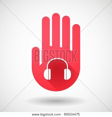 Red Hand Icon With A Earphones
