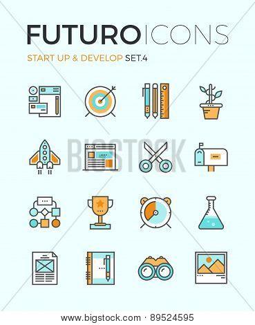 Startup Develop Futuro Line Icons