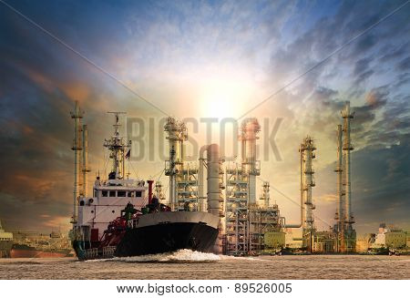 Gas Tanker Ship And Oil Refinery Plant Background Use For Oil ,fuel Energy And Fossil Power .transpo