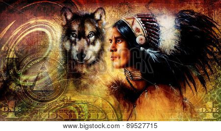 One Dollar Collage With Indian Man Warrior With Wolf, Ornament Background