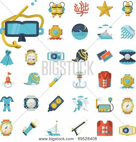 Sea leisure flat icons vector collection