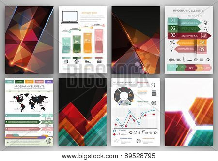Vector Infographic Icons And Abstract Polygonal Backgrounds