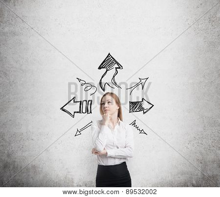 Beautiful Blonde Business Woman Is Standing Surrounded By Arrows In Different Direction. A Concept O