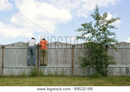 Two Boys On The Fence Looking For Smth
