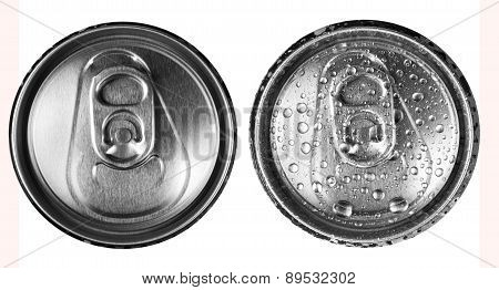 Two Beer Cans On A White Background Top View