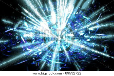 Shining big fantastic radial blast blue tint.Fractal art graphics