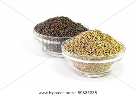 Brown Mustard Seeds and cumin seeds