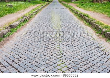Ancient Appian Way In Rome Old Town, Italy