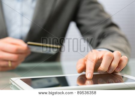 Online Shopping - Credit Card And Tablet