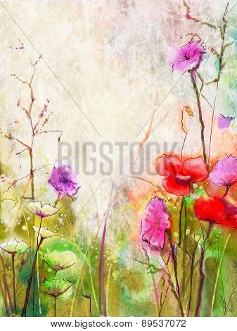 Abstract Red Flowers Watercolor Paintings