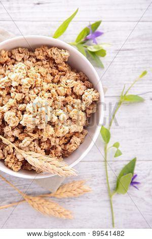 granola on top view