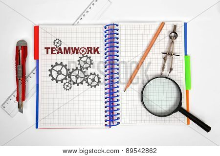 Notepad With Drawing Teamwork