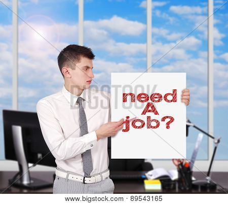 Placard With Need A Job