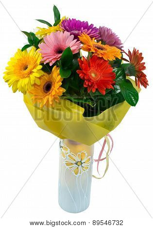 Bouquet Of Flowers In Yellow Package And Vase