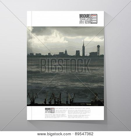 Shipyard and city landscape. Brochure, flyer or report for business, templates vector
