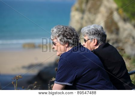 Elderly Twin Sisters Look Out To The Ocean