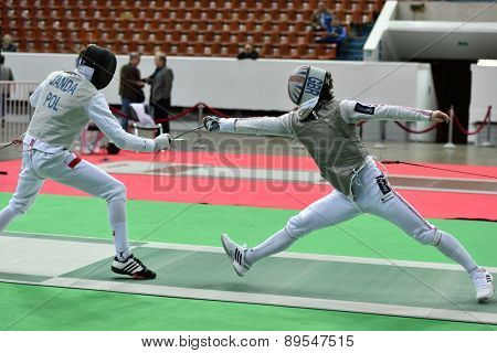 ST. PETERSBURG, RUSSIA - MAY 1, 2015: Marcus Mepstead of Great Britain vs Piotr Janda of Poland in International fencing tournament St. Petersburg Foil. The tournament is the stage of FIE World Cup