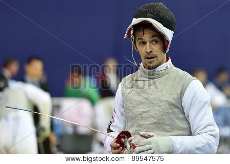ST. PETERSBURG, RUSSIA - MAY 1, 2015: Andrea Baldini of Italy during the first day of 41th International fencing tournament St. Petersburg Foil. The tournament is the stage of FIE World Cup