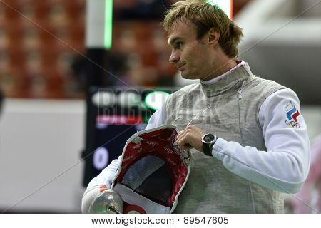 ST. PETERSBURG, RUSSIA - MAY 1, 2015: Alexey Khovanskiy of Russia during 41th International fencing tournament St. Petersburg Foil. The tournament is the stage of FIE World Cup