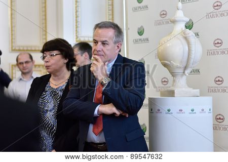 PAVLOVSK, ST. PETERSBURG, RUSSIA - APRIL 29, 2015: Siegfried Wolf, representative of Sberbank group in Austria during the ceremony of the return of the marble vase to the State Museum-Reserve Pavlovsk