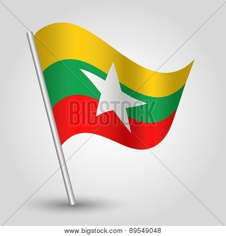 Vector Waving Simple Triangle Burmese Flag On Pole - National Symbol Of Burma