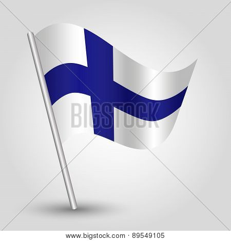 Vector 3D Waving Simple Triangle Finnish  Flag On Pole - National Symbol Of Finland