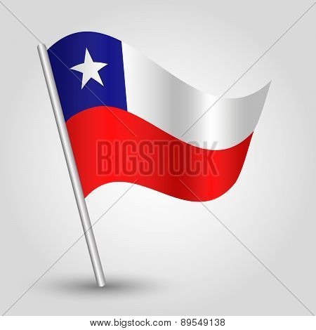 Vector Waving Simple Triangle Chilean Flag On Pole - National Symbol Of Chile