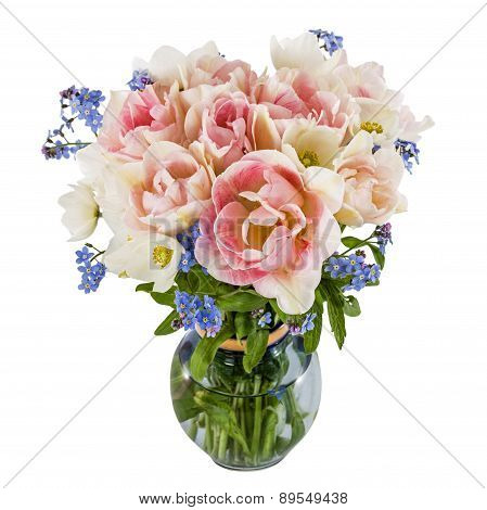 Bouquet Of Flowers In A Vase, Tulips And Forget-me-not, Isolated On White Background