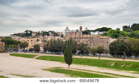 Panoramic Of Rome From Circo Massimo, Italy