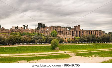 Panorama Of Circo Massimo In Rome, Italy