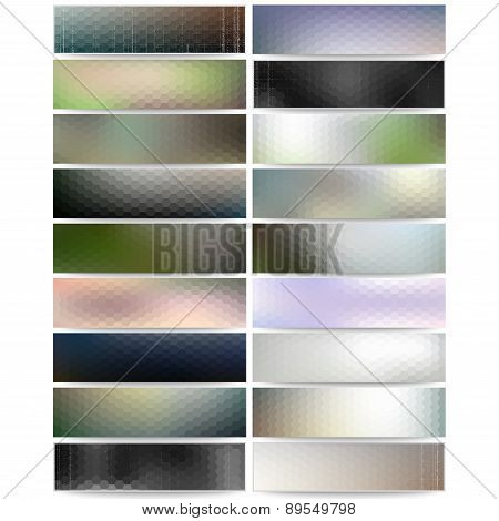 Abstract hexagonal headers set, blurred design vector, web banners collection, header layout templat