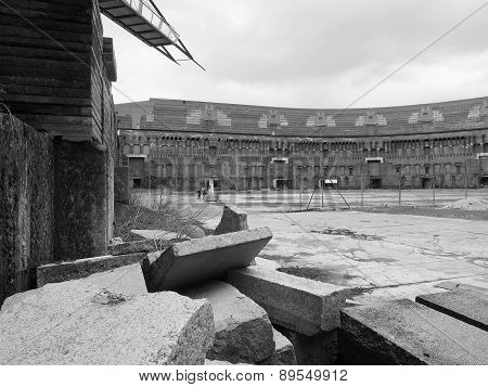 Dramatic view of rubble  inside the court yard of the former Nazi Party