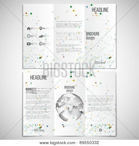 Vector set of tri-fold brochure design template on both sides with world globe element. Molecular co