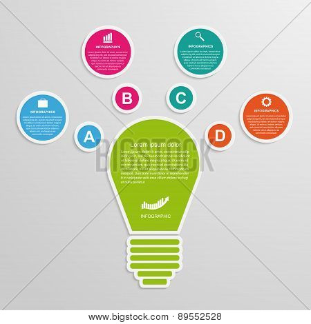 Abstract Business Concept Infographic Template. Lightbulb Idea.