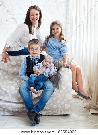 Happy Mother With Her Children Having Fun