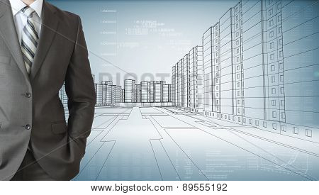 Businessman with his hand in pocket