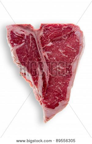 Uncooked T-bone Steak Isolated On White Background